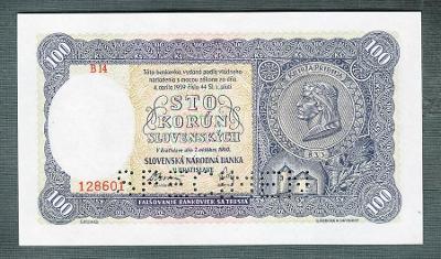 Slovensko 100 sk 1940 PRVNÍ VYDÁNÍ serie B14 perf. stav UNC