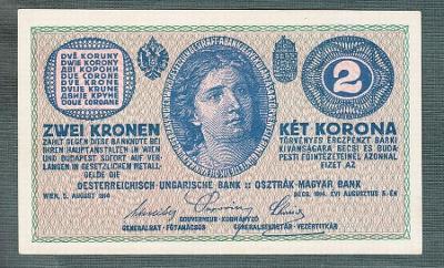 2 koruny 1914 VELMI PĚKNÝ STAV 1+ !!! serie C