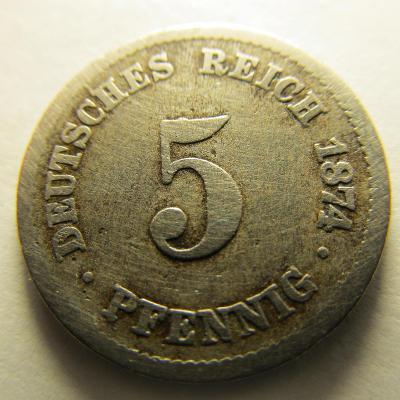Německo, Kaiser Reich , 5 pfennig z roku 1874A - HLEDANÁ