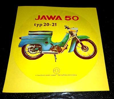 JAWA 50 typ 20 - 21, Povážské strojarně, bílá samolepka pr.7-(1x)