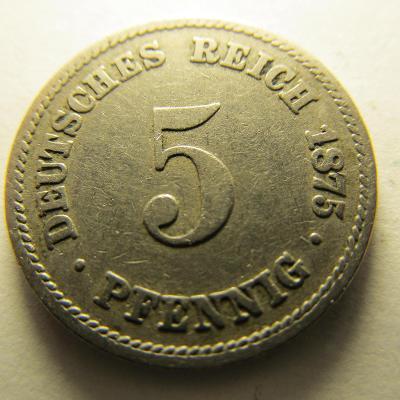 Německo, Kaiser Reich , 5 pfennig z roku 1875A - HLEDANÁ