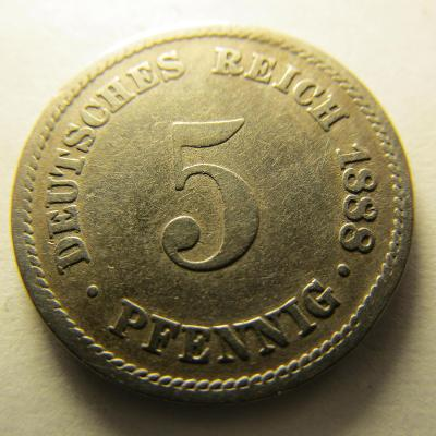 Německo, Kaiser Reich , 5 pfennig z roku 1888 A