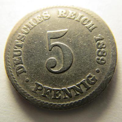 Německo, Kaiser Reich , 5 pfennig z roku 1889 A