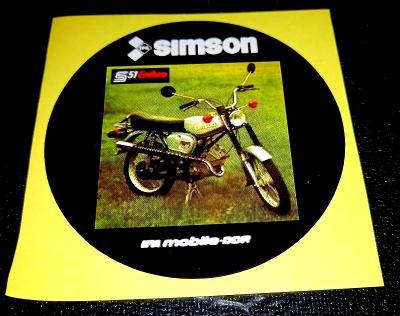 SIMSON S51 Enduro, IFA mobille-DDR, bílá samolepka pr.7-(1x)