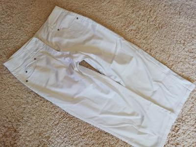Dámské elastické, tenké 3/4 kalhoty, rifle, vel. 38, bílé - jak NOVÉ