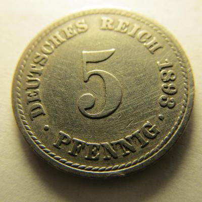 Německo, Kaiser Reich , 5 pfennig z roku 1893 A