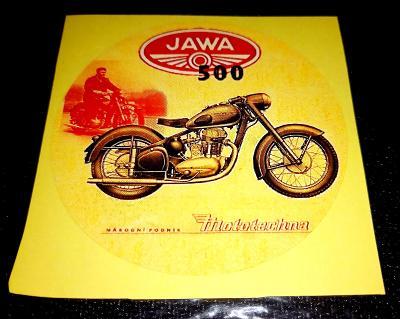 JAWA 500, národní podnik Mototechna, bílá samolepka pr.7-(1x)