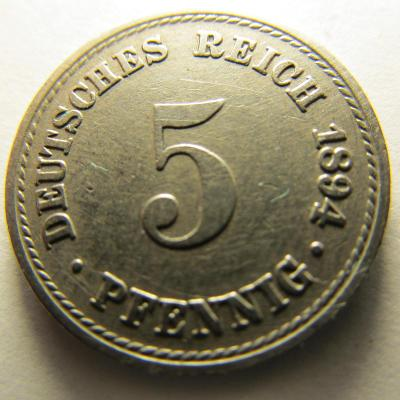 Německo, Kaiser Reich , 5 pfennig z roku 1894 A