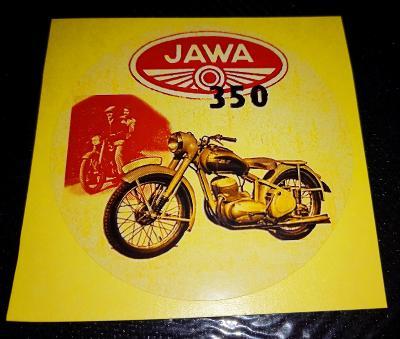 JAWA 350 pérák, bílá samolepka pr.7-(1x)