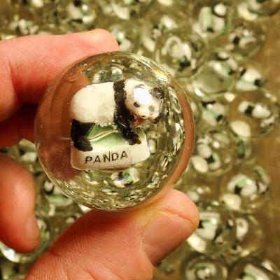 Velká hromada skleněných 3D kuliček se zvířátky Panda, 80 ks