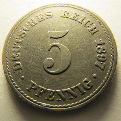 Německo, Kaiser Reich , 5 pfennig z roku 1897 A