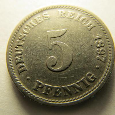 Německo, Kaiser Reich , 5 pfennig z roku 1897 D