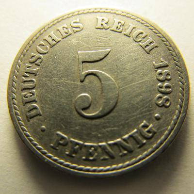 Německo, Kaiser Reich , 5 pfennig z roku 1898 A