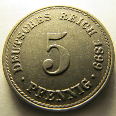 Německo, Kaiser Reich , 5 pfennig z roku 1899 A - HLEDANÁ