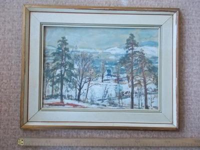 Obraz originál akvarel Hapka Valašsko Vsetín rám pasparta sklo podpis