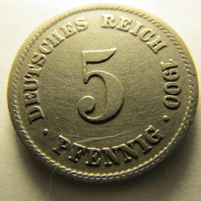 Německo, Kaiser Reich , 5 pfennig z roku 1900 G - R - HLEDANÁ