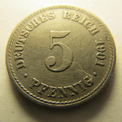 Německo, Kaiser Reich , 5 pfennig z roku 1901 A