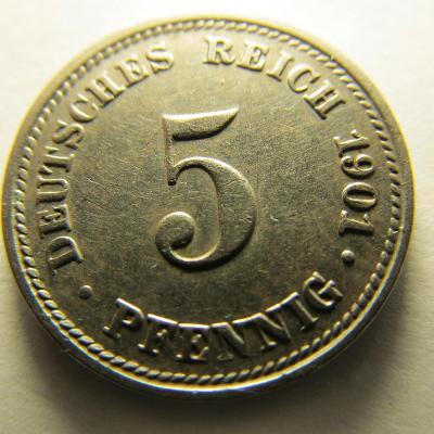 Německo, Kaiser Reich , 5 pfennig z roku 1901 D