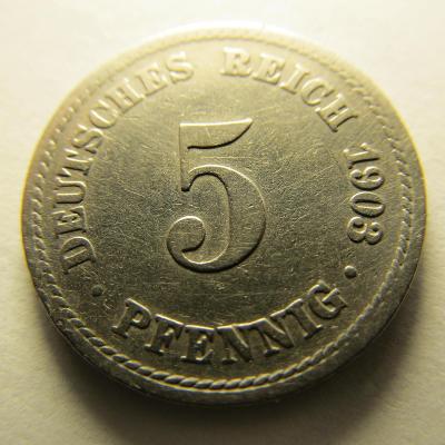 Německo, Kaiser Reich , 5 pfennig z roku 1903 A