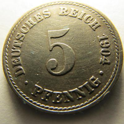 Německo, Kaiser Reich , 5 pfennig z roku 1904 A