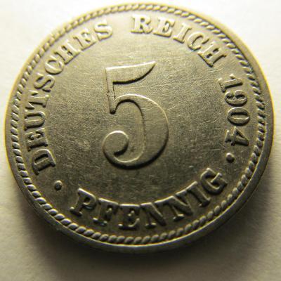 Německo, Kaiser Reich , 5 pfennig z roku 1904 D