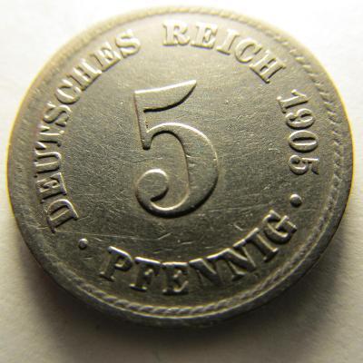 Německo, Kaiser Reich , 5 pfennig z roku 1905 A