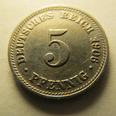 Německo, Kaiser Reich , 5 pfennig z roku 1906 D