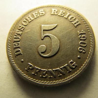 Německo, Kaiser Reich , 5 pfennig z roku 1906 E