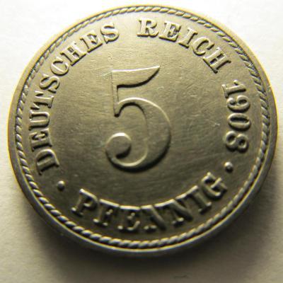 Německo, Kaiser Reich , 5 pfennig z roku 1908 A