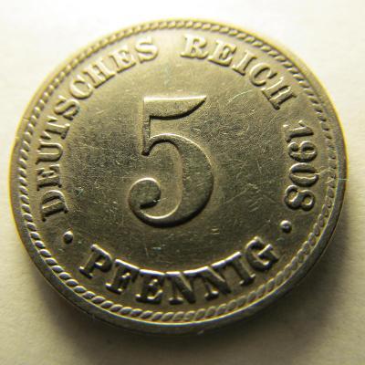 Německo, Kaiser Reich , 5 pfennig z roku 1908 D