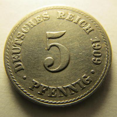 Německo, Kaiser Reich , 5 pfennig z roku 1909 A