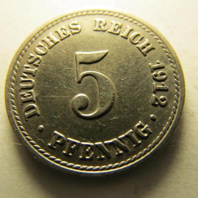 Německo, Kaiser Reich , 5 pfennig z roku 1912 A