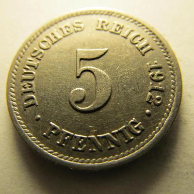 Německo, Kaiser Reich , 5 pfennig z roku 1912 E