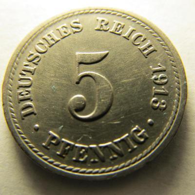 Německo, Kaiser Reich , 5 pfennig z roku 1913 A