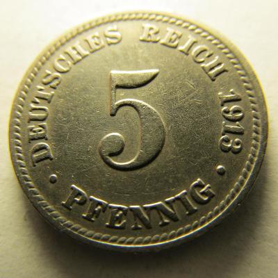 Německo, Kaiser Reich , 5 pfennig z roku 1913 D