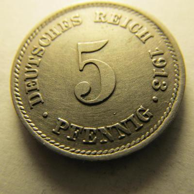 Německo, Kaiser Reich , 5 pfennig z roku 1913 E