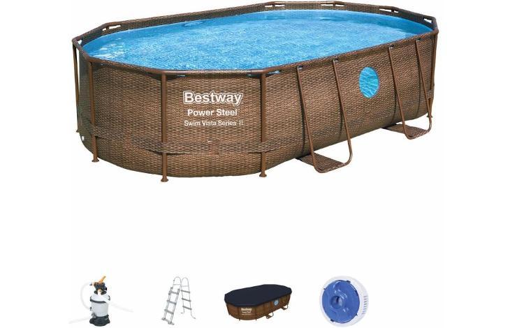Bazén s konstrukcí Rattan  ovál 488 x305 x107 cm se schůdky a filtrací - Zahrada