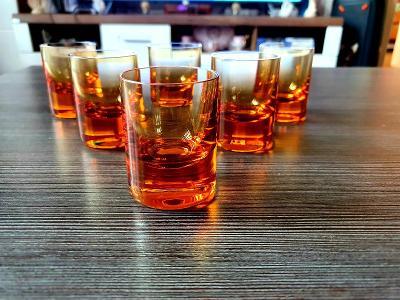 Moser sklo,,,6x krásné medové barvy panáky!!!