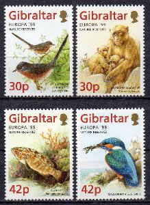 Gibraltar-Fauna 1999**  Mi.852-855 / 8 €