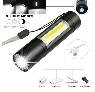 Svítilna QiiM XANES T6 COB kapesní nabíjecí USB se zoom