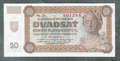 Slovensko 20 sk 1942 serie Nz11 NEPERFOROVANA stav 1-