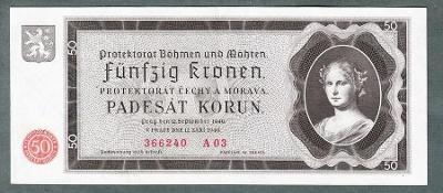 50 korun 1940 serie A03 NEPERFOROVANA stav 1 !!