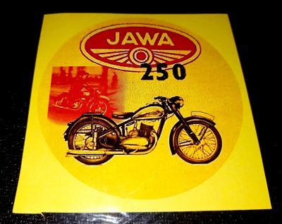 JAWA 250 pérák, bílá samolepka pr.7-(1x)