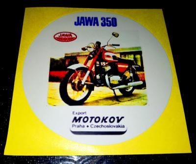 JAWA 350 634, export MOTOKOV Czechoslovakia, bílá samolepka pr.7-(1x)