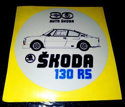 Škoda 130RS, 80let výroční (bílá samolepka pr.7), dle foto (1x).