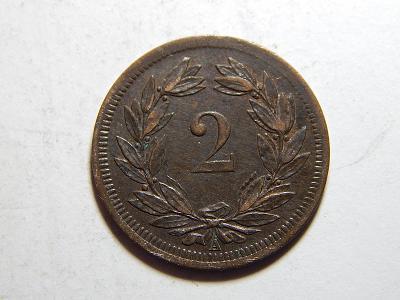 Švýcarsko 2 Rappen 1851 A R XF č31904