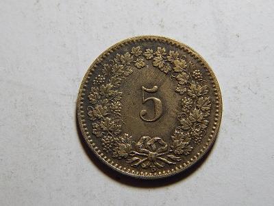 Švýcarsko 5 Rappen 1872 B R VF-XF č31907