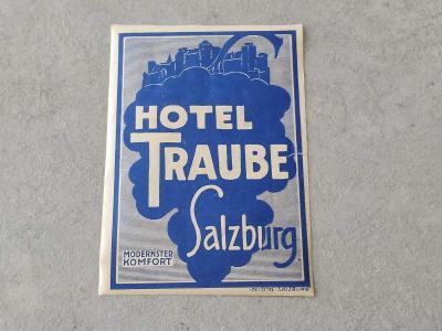Stará etiketa reklama  Hotel Traube Salzburg Rakousko  Znak Znak