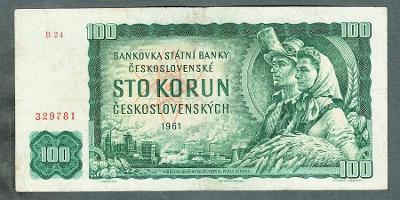 100 kčs 1961 VZÁCNÁ serie B24 !!!