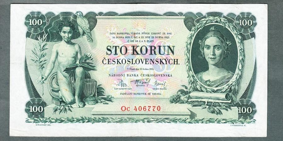 100 korun 1931 serie Oc NEPERFOROVANA stav 1 - Bankovky